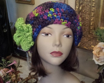 Winter hat with flower on side crochet by petronella