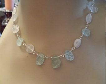 Natural Aquamarine and faceted quartz necklace