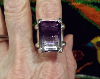 Sterling silver artist made wide square band ring with ametrine large stone