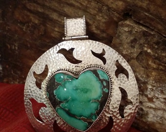 Signed (KZ) Vintage Hammered Sterling Silver Turquoise Heart Pendant with Eagle Design and Large Bail
