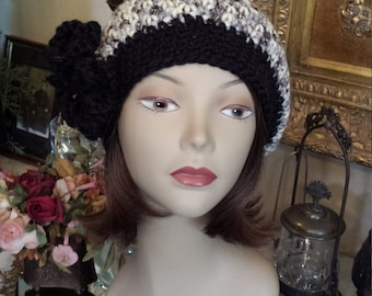 Winter crochet hat with flower made by petronella