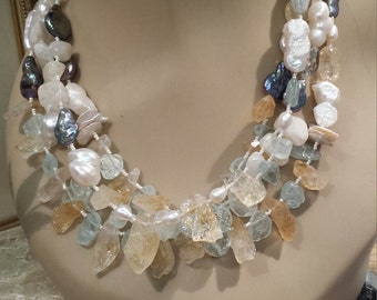 Freshwater pearls, Aquamarine, citrine and moonstone four strand necklace