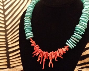 Turquoise Flat Bead Necklace with Natural Coral Center