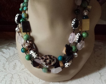 Three strand assorted semi precious stone necklace,  turquoise, shell, tiger eye and other beautiful stones
