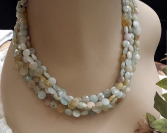 four strand faceted polished aquamarine blue-green beaded necklace