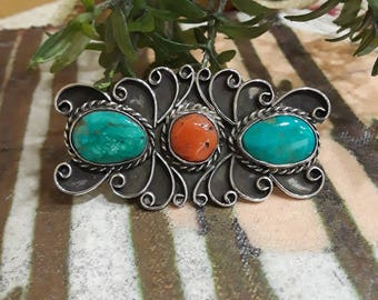 Sterling silver native American turquoise and coral brooch