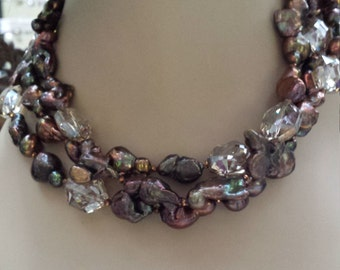 three strand brownish freshwater pearl and faceted smokey crystal necklace