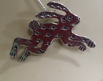 Sterling silver native American rabbit pendant-pin