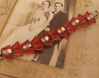 Beautiful Vintage Costume Bracelet with Red Glass Stones and Multicolor Crystal with Unique Design