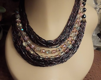 Vintage crystal and purple tube bead necklace
