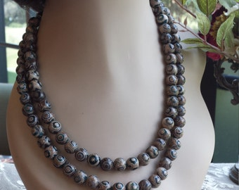 Two strand beaded necklace made with painted jasper