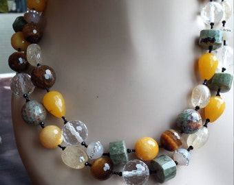 Two strand faceted assorted beaded necklace made by petronella designs