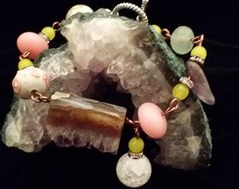 """Unique! Multi Color Semi Precious Stone Beaded """"Dangle"""" Bracelet Toggle Clasp (13)"""