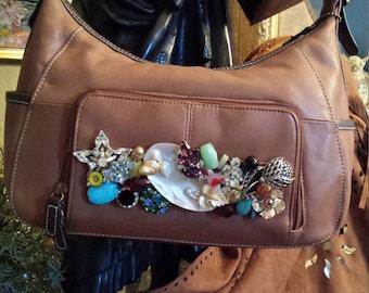Leather vintage jeweled purse