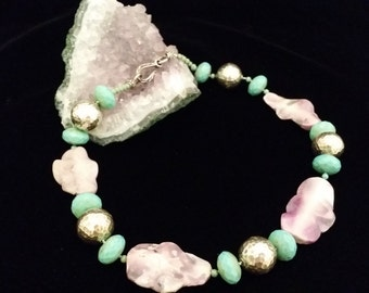 Beautiful Uniquely Cut Purple Jasper, Hammered Sterling Silver and Faceted Turquoise Beaded Necklace
