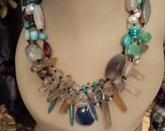 Three strand Semi-precious stone designer necklace made by petronellagdesigns