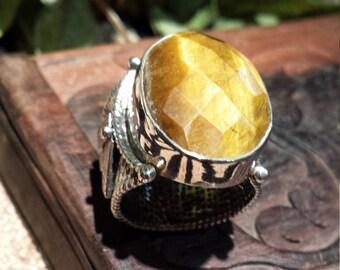 Tiger eye faceted sterling silver designer ring