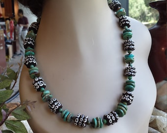 One strand beaded necklace made with turquoise and bone