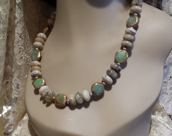 One strand natural jade and turquoise necklace