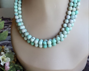 three strand stone necklace