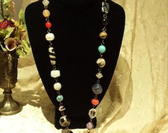 semi precious stone one strand long necklace
