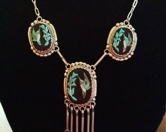 Sterling silver Zuni inlaid necklace