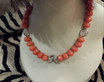One strand beaded necklace made with faceted jade and faceted smokey crystal