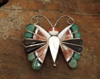Vintage Native American Zuni Sterling Silver Butterfly Brooch/Pendant with Inlaid Turquoise, Onyx, Spiny Oyster, Mother of Pearl and Coral