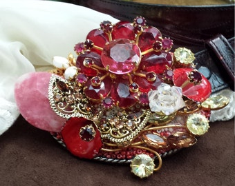 Vintage jeweled belt buckle