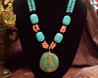 Two strand beaded turquoise, coral and turquoise dynasty jasper pendant