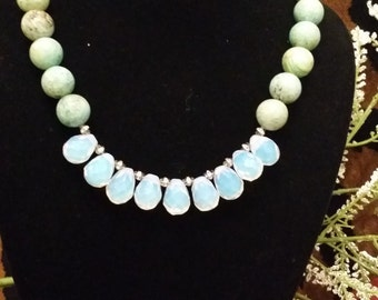 One of a Kind Turquoise and opalite Necklace
