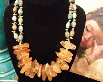 Unique! 2 Strand Natural Amber, Turquoise and Citrine Necklace