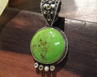 Chrysocolla ornate sterling silver pendant