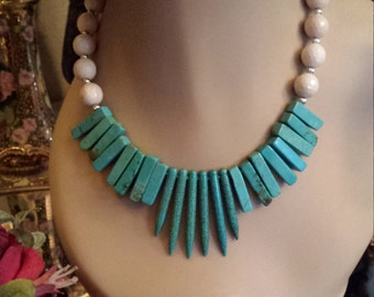 One strand beaded necklace made with turquoise and natural faceted jade