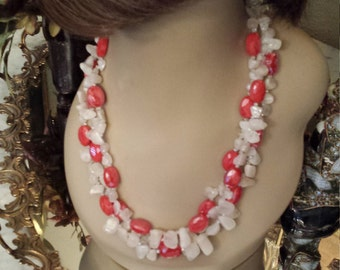 three strand Semi-precious moonstone and artist faceted cut glass necklace
