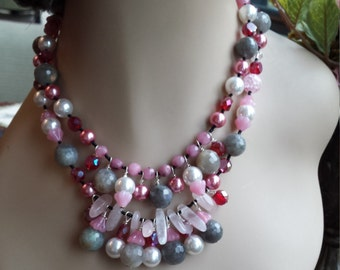 Two strand beaded faceted necklace made with pearl, quartz, laborodite, and rose quartz