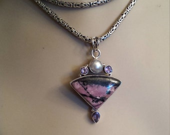 Rhodonite sterling silver pendant