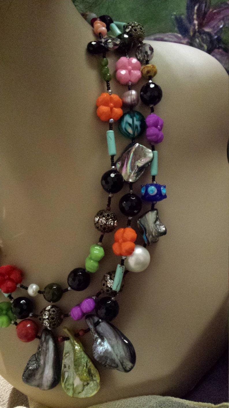 Three strand assorted stone designer necklace