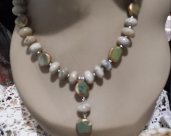 One strand natural opal and turquoise necklace with center drop