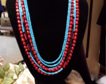 six strand turquoise, bone and coral necklace