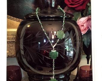 One strand adjustable long or short green pyrite designer necklace