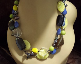 Two strand beaded necklace made with assorted stones