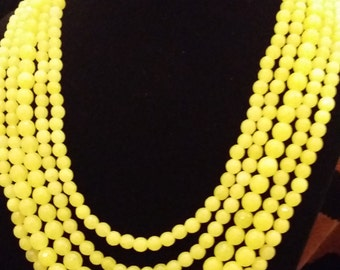 Bright!  5 Strand Faceted Lemon/Lime Colored Jade Necklace