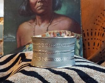 Sterling silver vintage wide cuff bracelet