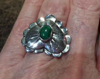 Sterling silver malachi native American Heart ring