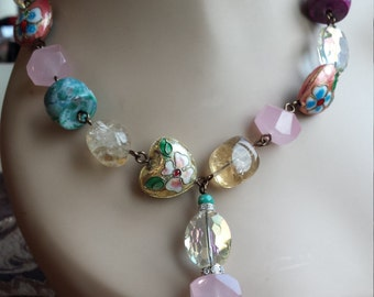 One strand designers necklace with assorted semi precious stones