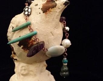 """Unique Multi Color Semi Precious Stone Beaded """"Dangle"""" Bracelet Toggle Clasp (3)"""