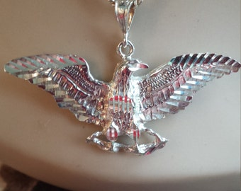 Sterling silver vintage eagle pendant with chain