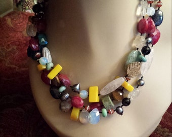 Three strand Semi-precious designer necklace made by petronella with assorted exotic semi precious stones