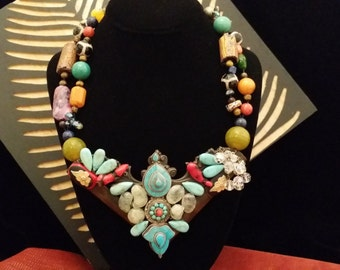 WOW!! One of a Kind Gorgeous 2 Strand Assorted Multi Color Semi Precious Stone Statement Necklace with Unique Vintage Brass Drop